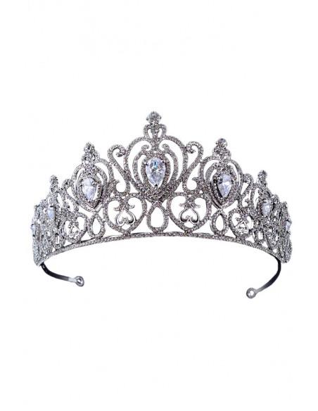 Tiara eleganta QUeen of Versailles, model inflorat, cristale rotunde si zirconii cubice
