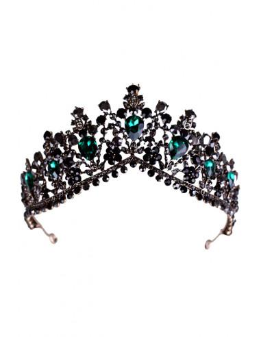 Tiara eleganta Morgan le Fay, model inflorat, cristale verzi, negre si gri