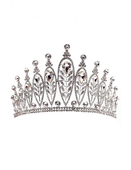 Tiara eleganta Queen Apailana, model inalt, ramuri cu frunze si cristale