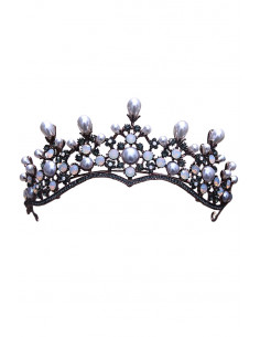 Tiara eleganta Guinevere, model cu perle alungite si cristale rotunde albe si gri