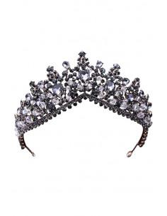 Tiara eleganta Maleficent, model cu margele albe fatetate si cristale negre