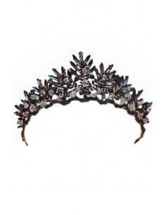 Tiara eleganta Persephone, model cu cristale ascutite si margele fatetate
