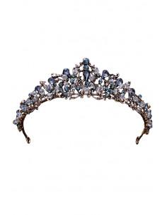Tiara eleganta Ephiny, model cu cristale rotunde si alungite gri si margele fatetate