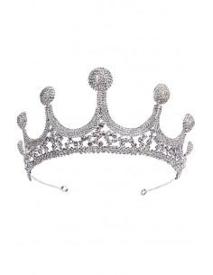 Tiara eleganta Snow Queen, cu varfuri inalte si discuri de cristale