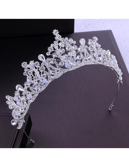 Tiara eleganta Silver Aphrodite, cu cristale fatetate si margelute semitransparente