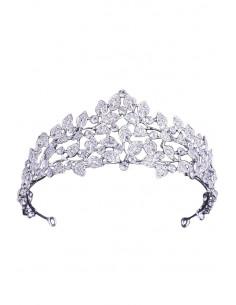 Tiara eleganta Winter Forest, cu frunzulite si cristale albe fatetate