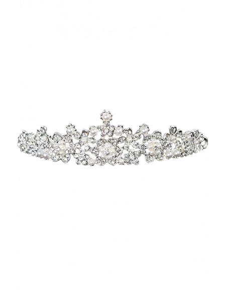 Tiara eleganta Angelique, model delicat cu cristale rotunde si perle albe
