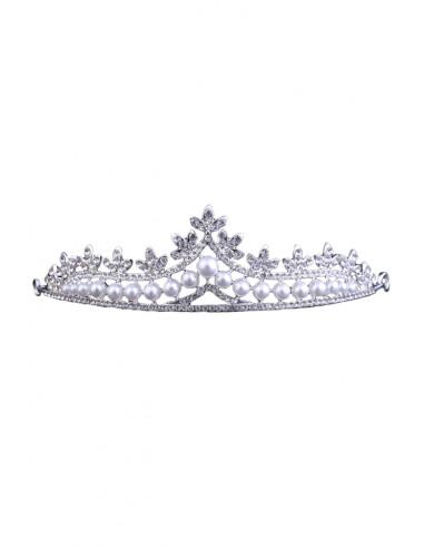 Tiara eleganta Cinderella, model delicat cu frunzulite, cristale rotunde si perle albe