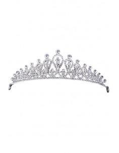 Tiara eleganta Princess Ariel, model delicat cu flori si cristale rotunde albe