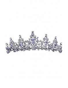 Tiara eleganta Southern Star, model cu flori, cristale rotunde si zirconii cubice