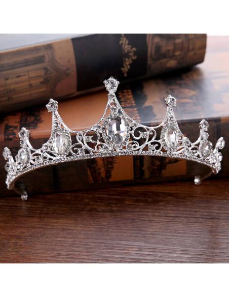 Tiara eleganta Princess Marceline, model inflorat cu 7 colturi si cristale rotunde