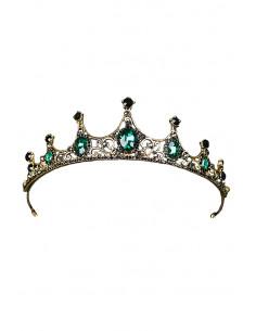 Tiara eleganta Princess Cimbeline, model inflorat cu 7 colturi si cristale verzi si negre