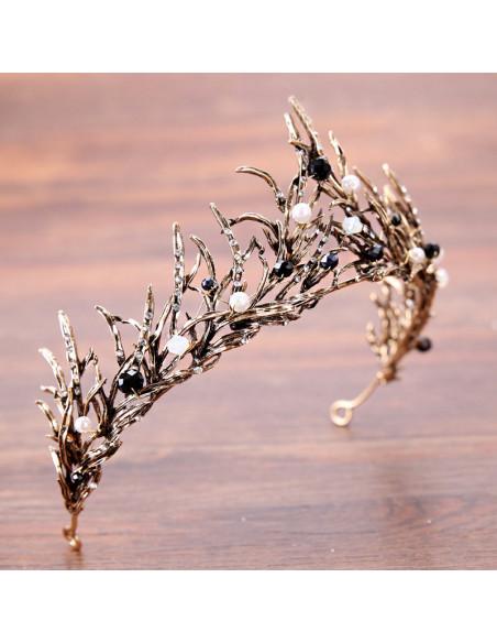 Tiara eleganta Narissa, model aramiu cu perle, margelute si cristale