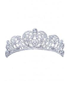 Tiara eleganta Katherine, model floral baroc, cu cristale albe fatetate