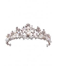 Tiara eleganta Rapunzel, model floral delicat, cu cristale albe fatetate si perle