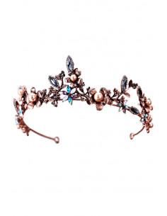 Tiara eleganta Giselle, cu flori si frunzulite din cristale colorate si perlute