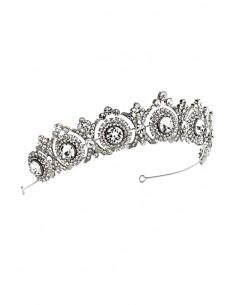 Tiara eleganta Principessa, model ingust cu rozete si cristale albe fatetate