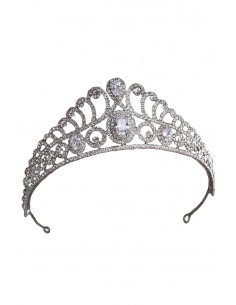 Tiara eleganta Princess Gwendolyn, model inalt, ramuri si spirale cu cristale