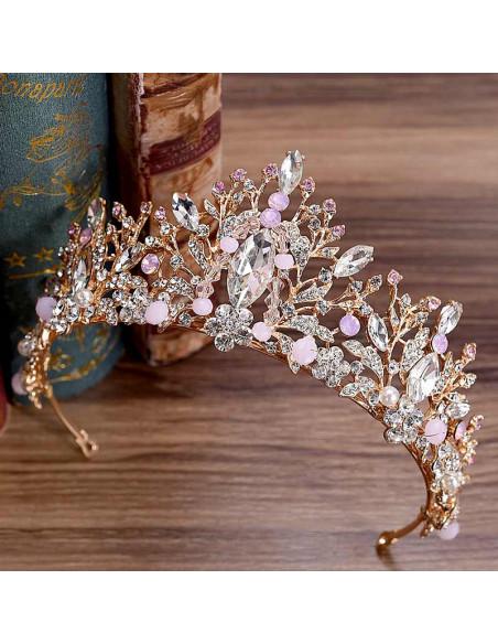 Tiara eleganta Aliana, model floral delicat, cu cristale albe si roz