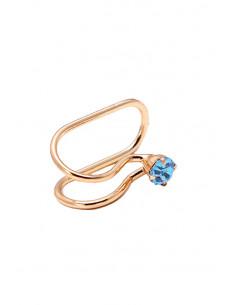 Cercel ear cuff, model simplu cu cristal rotund colorat