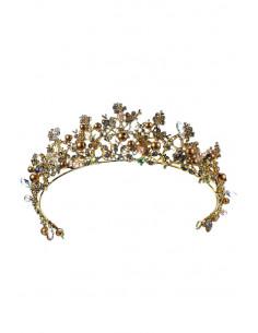 Tiara Golden Pearls, cu cristale, margelute, perle aurii si floricele