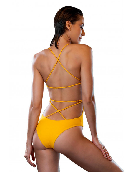 Costum de baie intreg galben inchis, cu spatele gol si snururi rasucite