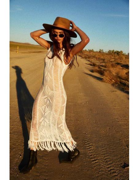 Rochie lunga de plaja, tricotata, semitransparenta, cu franjuri