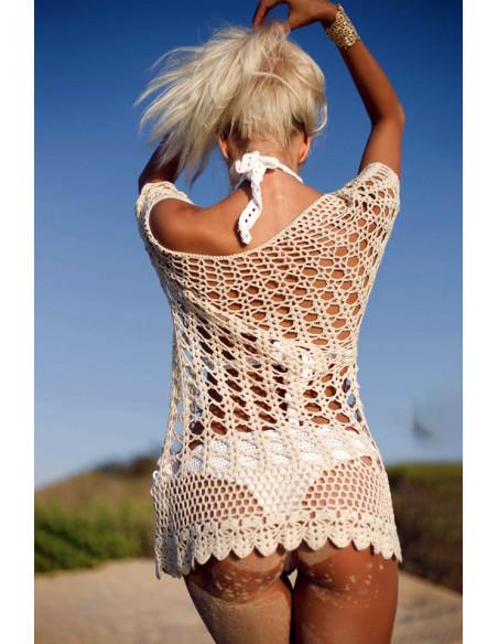 Bluza crosetata pentru plaja, crem, cu maneci scurte