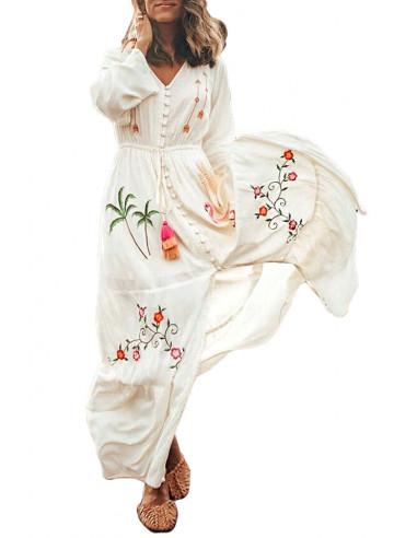 Rochie kimono de plaja, lunga, brodata colorat, cu nasturi in fata