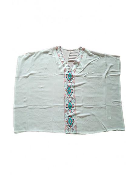 Bluza larga semitransparenta, broderie colorata cu motive etnice