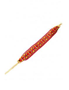 Bratara lata cu motive etnice, model rosu cu galben