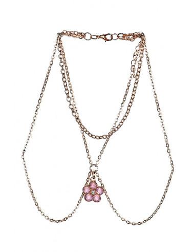 Bratara pentru brat cu floare roz din cristale si lantisoare