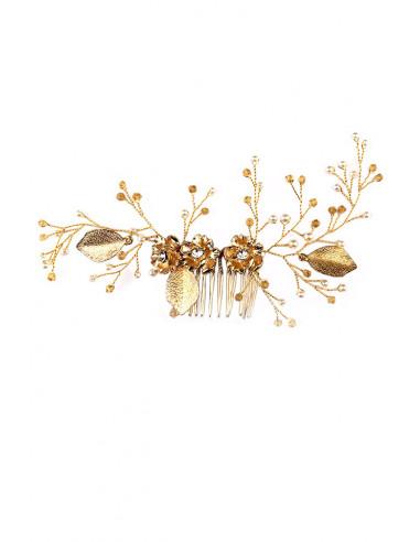 Pieptene de par din fir delicat impletit cu flori si cristale, frunze si perle