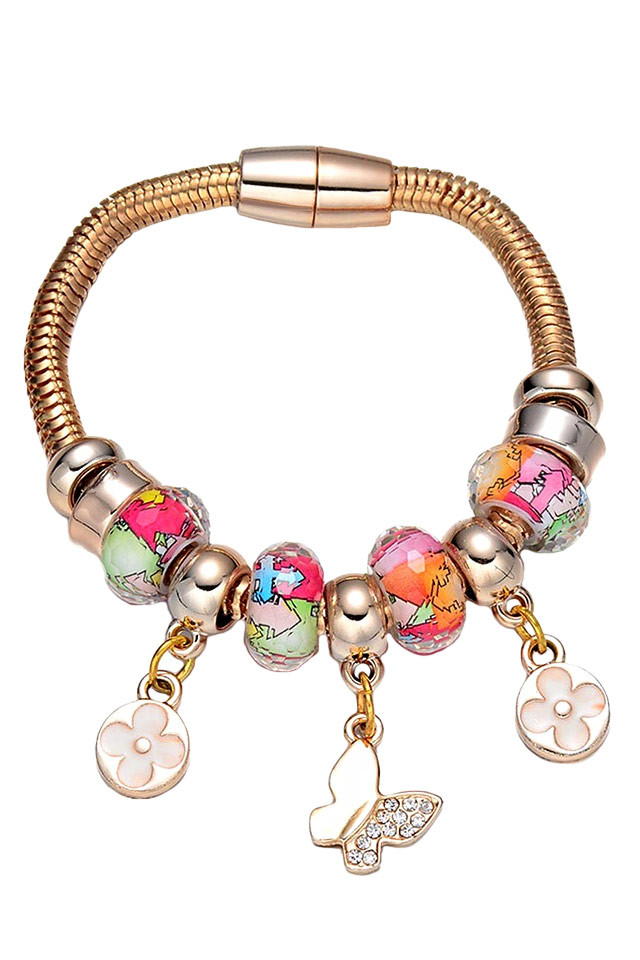 Bratara tip Pandora, aurie, cu charmuri de sticla, fluturasi si flori
