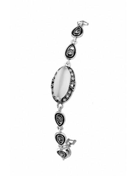 Bratara vintage cu cristal alb mat lung si rama cu cristale