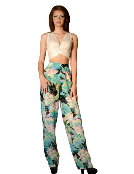 Compleu pantalon colorat si top transparent