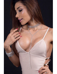 Choker luxury flexibil, model spiralat cu cristale mici si fir lung
