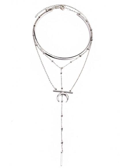 Set de trei coliere minimal, inel metalic, semiluna si margelute