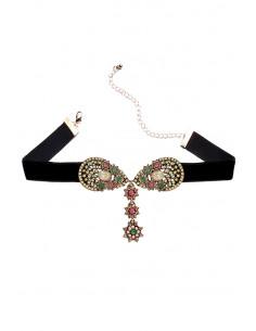Colier choker statement, medalioane florale cu cristale colorate