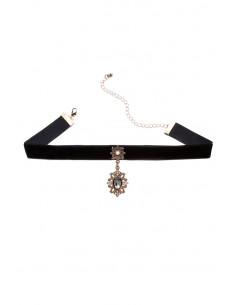 Colier choker statement, cu medalion floral cu cristale si perla