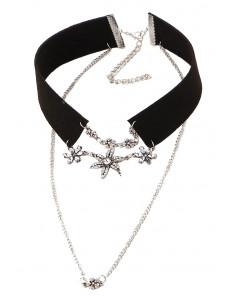 Colier choker elegant, cu flori din cristale si lant cu medalion