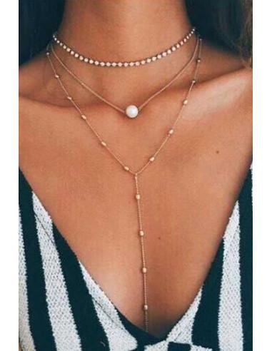 Set doua lantisoare minimal, cu perla alba si margelute metalice