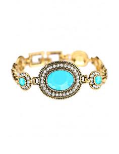 Bratara vintage glam, medalioane ovale cu cristale negre/turcoaz