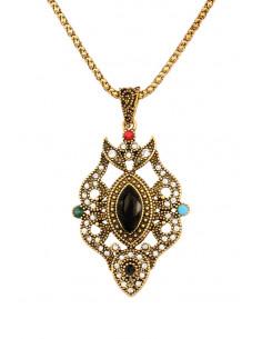 Colier vintage glam, medalion alungit floral, cu cristal negru