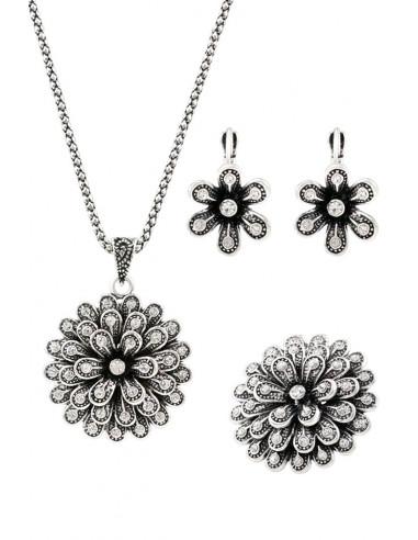 Set vintage 3 piese, flori mari argintii cu cristale albe