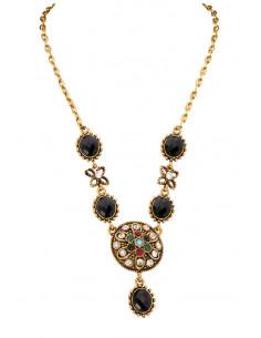 Colier vintage glam, medalion floare cu cristale colorate si pietre negre