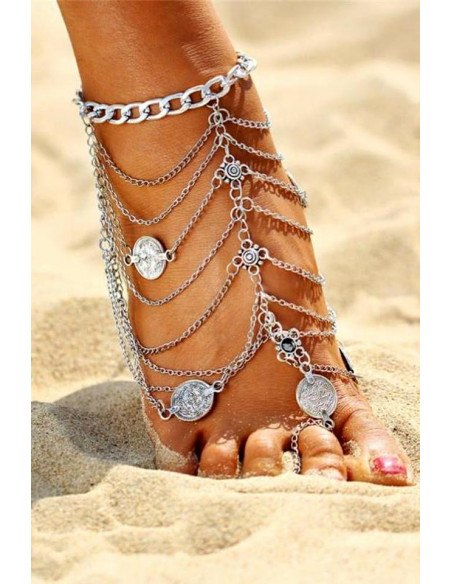 Bratara pentru picior indiana, cu inel, lantisoare si banuti
