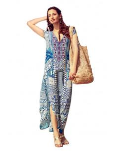 Rochie tip caftan de vara, lunga, imprimenu etnic multicolor alb, albastru si rosu