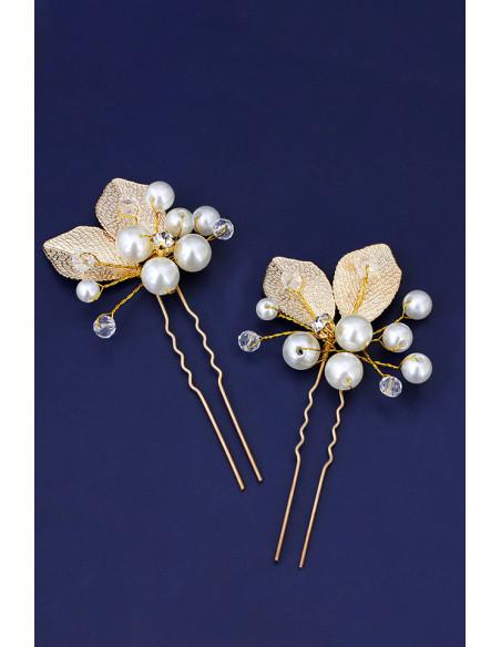 Set doua agrafe pentru mireasa cu frunze aurii, perle si cristale albe