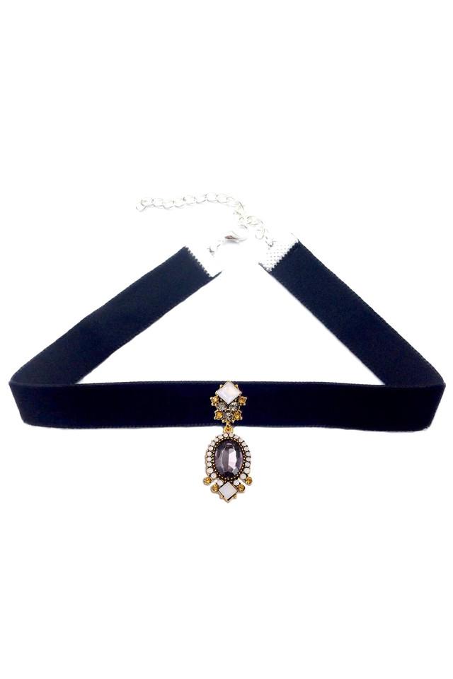 Colier choker statement, cu medalion cu cristale gri, galbene si albe